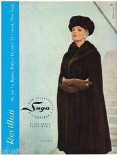 PUBLICITE ADVERTISING 105  1956  REVILLON  fourrures SAGA & chapeau de SVEND