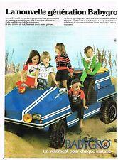 Publicité Advertising 1976 Les Vetements pour enfants Babygro
