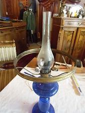 Petroleum Lampe Kobaltblau, mit Milchglasschirm, elektr., Bayr. Wald, Top