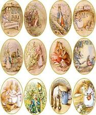 Vintage Beatrix Potter rabbit bunny 12 oval stickers scrapbooking crafts glossy