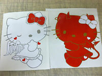 2 Pcs Set Car Door Large Size Kity Cat Baby Red kitty Stickers Body Decal Strip