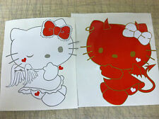 HELLO KITTY ANGEL AND DEVIL CAR DECALS (COMES IN A PAIR)