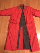 Vintage Eddie Bauer Goose Down Jacket Coat Long Red Womens Size Medium Flannel