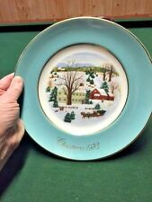 Vintage Avon Annual Christmas Plate (1973) Christmas On The Farm