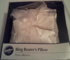 Wilton-Wedding-Ring-Bearer-Pillow-White-Diamond-Weave-Satin-Pearl-Pins-White-Bow