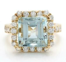 6.95 Carat Natural Blue Aquamarine and Diamonds in 14K Solid Yellow Gold Ring