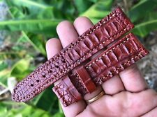 20/18, RED BROWN CROCODILE Hornback Watch Strap Band, GENUINE ALLIGATOR LEATHER
