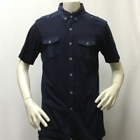 Men's Casual Short Sleeve Shirt Marino Bay Navy Blue Size Large L Only