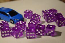 Purple 20 Transparent w/ White Pip Bunco Gaming Dice Set 16mm D6 Yahtzee Quality