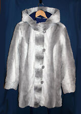 Hal Rubenstein Lara Reversible Gray Faux Rabbit Fur / Blue Hooded Coat XL NWT
