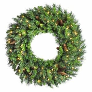 "Vickerman Cheyenne Pine Green Wreath w/ 50 Clear Dura-Lit, 24""~Christmas Decor"