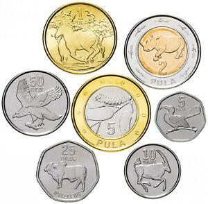 ✔ Botswana 5 10 25 50 thebe 1 2 5 pula 2013 UNC Animals Bimetal WCC:km31-37