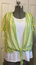 Alfred Dunner Top 2 Piece Set ~ Embellished Tank and Crochet Summer Cover ~ 1X