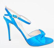 NIB SJP by Sarah Jessica Parker Louise Satin Heels Sandals Sz 37.5 7 M Blue $385