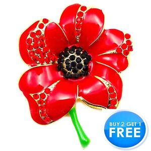 NEW RED ENAMEL CRYSTAL ROSE DAISY GOLD METAL PIN BROOCH BOUQUET BADGES FOR WOMEN
