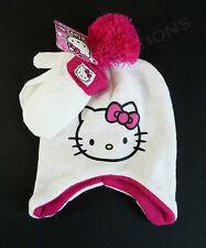 HELLO KITTY White Pink Winter Hat & Mittens Set Pompom CHILD OSFM NWT CUTE!