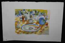 Greeting Card Original Artwork - Still Life Table Watercolor - 1970s