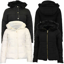 Ladies Parka Jacket Womens Brave Soul Coat Padded Wadded Hoodie Fur PVC Winter