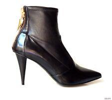 new $995 Giuseppe ZANOTTI 'Ester' black leather GOLD ZIPPER ankle boots 38.5 8.5
