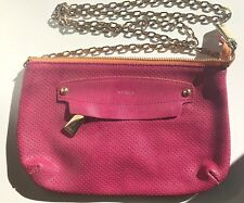 Furla Perforated Pink Leather Chain Crossbody or Shoulder Bag