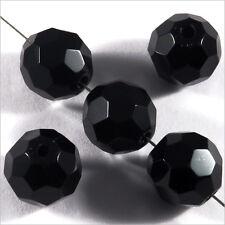 Lot de 10 perles à FACETTES 10mm en Cristal de Bohème Noir