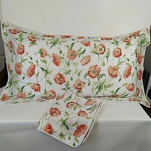Laura Ashley Freshford Poppy Pillow Shams (2) K/Q Pink Cotton Decorator NWOT