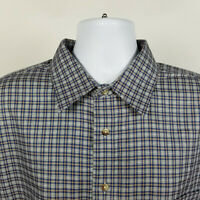 Jos A Bank Traveler Gray Blue Check Plaid Mens Dress Button Shirt Size XL