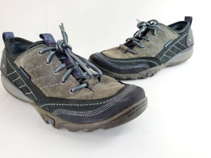 Merrell Womens Mimosa Hiking Shoes Gray Black J68166 Lace Up Low Top Leather 9 M