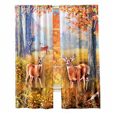 Rich Autumn Color Deer Scene Curtain Drapes