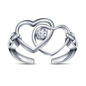 925 silver Round Cut Diamond Double Hearts Wave Infinity Toe Ring Beach Jewelry