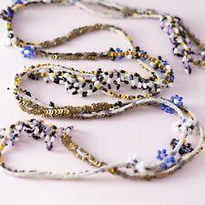Very Long Fabric Sequin Seed Bead Beaded Artisan Boho Bohemian Necklace