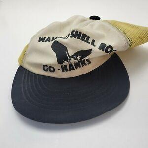 Waverly Shell Rock Go Hawks White Hat Cap Black Adult Mesh Snapback Vtg B19