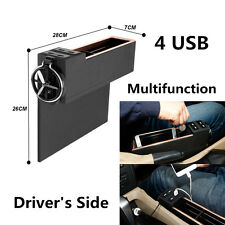 Car Seat Side PU Leather Storage Box With 4 USB Cup Holder Coin Phone Organizer