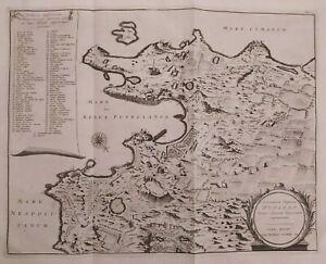1723 Van der Aa Mappa Amoenissimae Regionis Puteoli Pozzuoli Napoli Campania