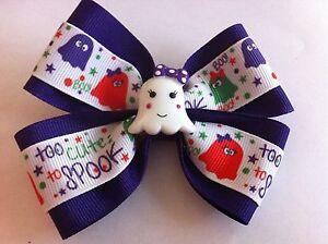 "Girls Hair Bow 4"" Wide Halloween Ghost Purple Ribbon French Barrette"