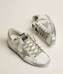 New Golden Goose Women's Shoes Sneakers White Silver Authentic 38