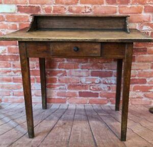 Antique French Rustic Pine Writing Desk - Table with drawer - Vintage