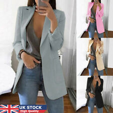 Womens Open Front Work Office Cardigan Blazer Long Sleeve Jacket with Pocket UK