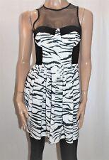 minty meets munt Designer Black Zebra Print Sleeveless Dress Size M BNWT #SO63