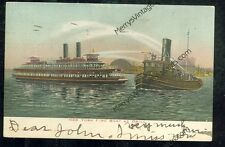 """Fire Boat """"The New Yorker"""" at Drill (1904 postcard(SH#1)#650"""