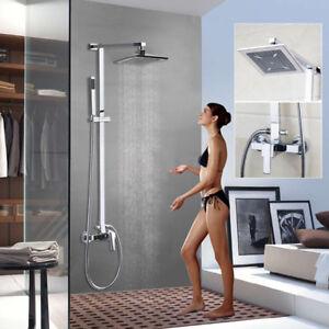 Bathroom Rainfall Shower Head & Handheld Spray Chrome Wall Mount Mixer Valve Set