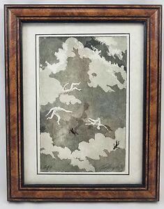 1991 Paul Murphy Artwork Pencil Drawing Nude Men Falling Through Clouds Framed