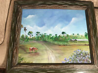 "Large Rochelle ""Florida Farm Landscape Scene"" Acrylic Painting - Signed/Framed"