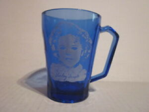 Vintage Shirley Temple Image Cobalt Blue Handled Child's Glass Cup