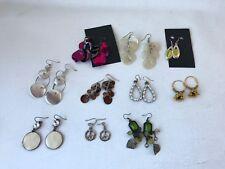 Lot vintage fashion mixed earrings metal shell faux pearl diamante enamel