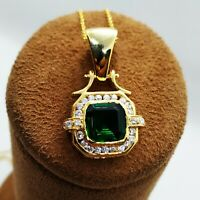 XMAS 18k Yellow Gold Over 3.50ct Diamond Green Emerald Pendant Stunning Necklace