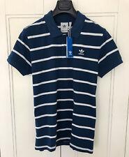 Adidas Trefoil Mens Striped Polo Shirt Size XL Pit To Pit 23 Inch 100% Cotton