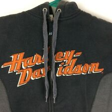 Harley Davidson Hoodie Full Zip Gray Black Mens Size S