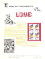 #2143 22c Love USPS Cat. #241 Commemorative Stamp Panel