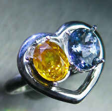 Natural Sphalerite & tanzanite 925 silver 9ct 14k 18k Gold engagement heart ring